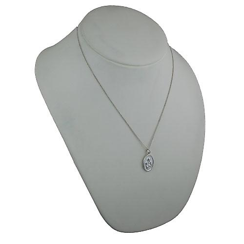 Silver 21x15mm oval St Ann Pendant with a curb Chain 20 inches