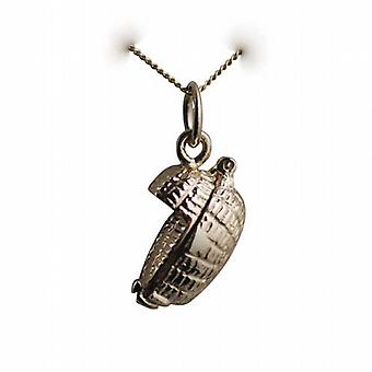 9ct Gold 10x16mm Baby in a Basket Pendant with a curb Chain 16 inches Only Suitable for Children