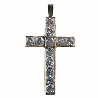 9ct Gold 45x29mm Apostle's Cross set with 12 Cubic Zirconia