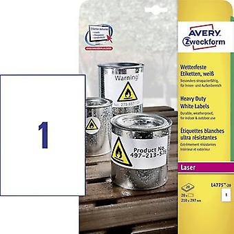 Avery-Zweckform L4775-20 Labels (A4) 210 x 297 mm Polyester film