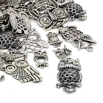 Packet 30 Grams Antique Silver Tibetan 5-40mm Owl Charm/Pendant Mix HA06695
