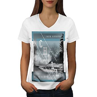 Beach Chill Sea Holiday Women WhiteV-Neck T-shirt | Wellcoda