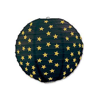 Linternas de papel estrellas - negro y oro