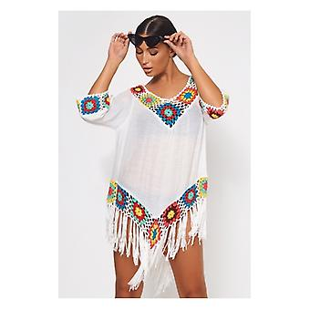 The Fashion Bible White Multicoloured Crochet Cover Up