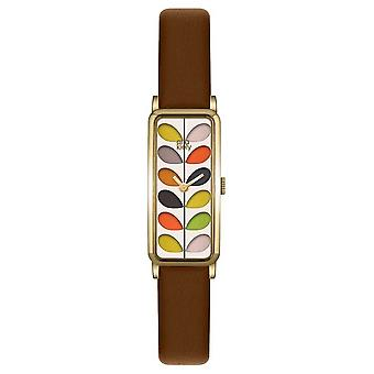 Orla Kiely Womans modelé Dial Tan Leather Strap OK2104 Watch