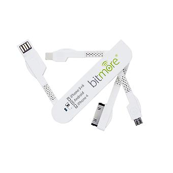 Bitmore 3 in 1 Charge&Sync USB Smart Cable White