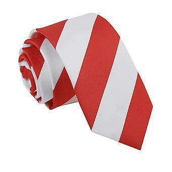 Röd & vit randig smal slips