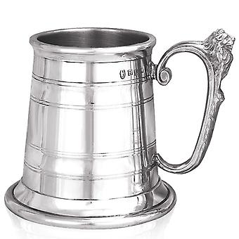 Montgomery Lion Handle Extra Heavy Pewter Tankard - 1 Pint +
