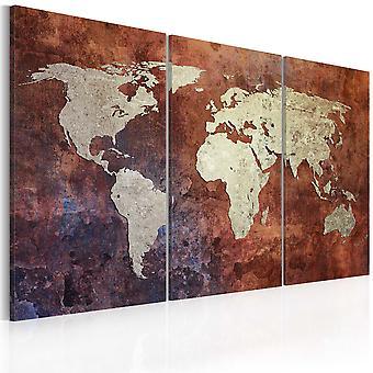 Canvas Print - Rusty kaart van de wereld - drieluik