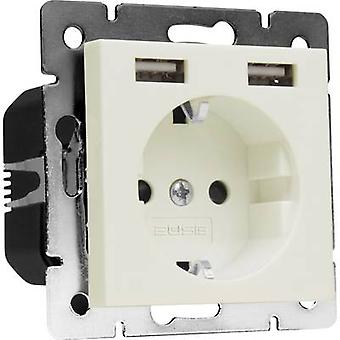 2USB 1493576 1 x Flush-mount socket inkl USB, Barnesikring IP20 krem-hvite