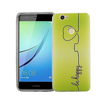 Mobile Shell voor Huawei Nova cover case beschermende zak motif slim TPU + armor bescherming glas 9 H gelukkig groen