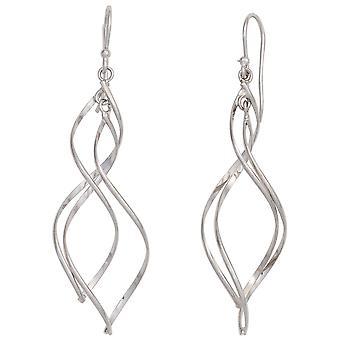 Rhodium-plated oorbellen spiraal-925 Sterling zilveren oorbellen
