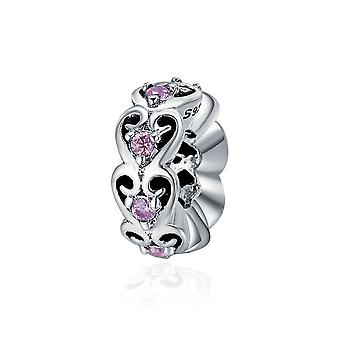 Sterling silver romantic spacer with zirconia stones