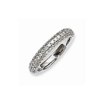 925 Sterling Silver Pave Polished Prong set Rhodium-plated Rhodium Plated With Cubic Zirconia Ring - Ring Size: 6 to 8