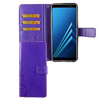 Samsung Galaxy A6+ Plus 2018 Handy-Hülle Schutz-Tasche Cover Flip-Case Kartenfach Violett
