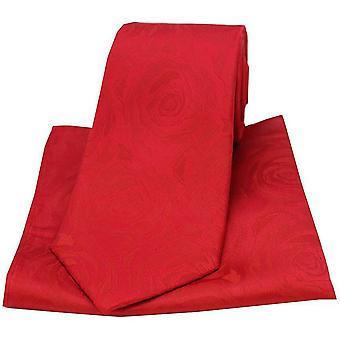 David Van Hagen rosa boda lazo y bolsillo cuadrado Set - rojo