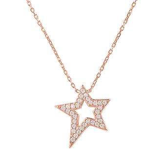 Latelita 925 Sterling Silver Star Pendant Necklace Rose Gold Cubic Zirconia