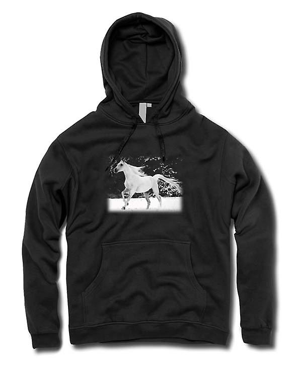 Mens Hoodie - & blanc Running Horse conception