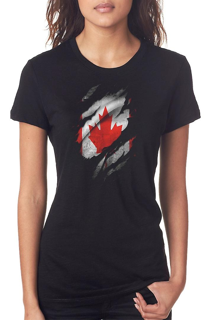 Canadian Grunge Flag Ripped Effect Ladies T Shirt