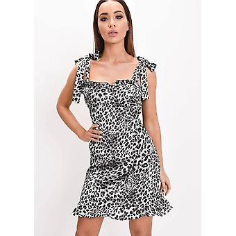 Rüschen Saum Leopard Print Satin Tie Strap Cup Detail Skater Kleid grau