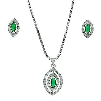 TOC Sterling Zilver CZ Set Tear Drop Oorbellen & Pendant Necklace 18