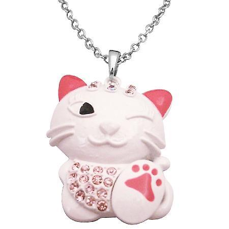 HipHop Cat Pendant Necklace White Cat Fuchsia Crystal Pendant Necklace