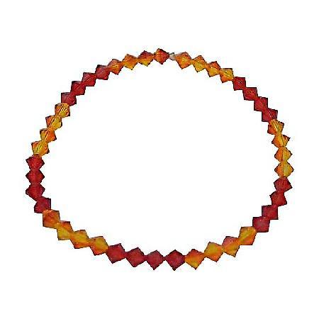 Red Orange Swarovski Crystals Stretchable Bracelet Swarovski