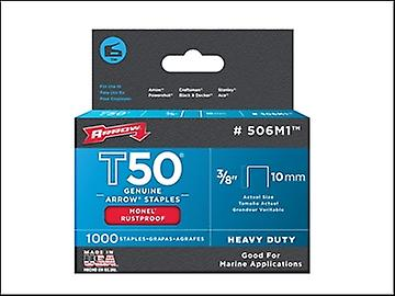 Arrow T50M 506m Monel Staples 10mm (3/8in) Box 1000
