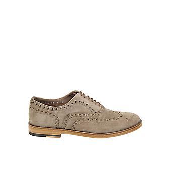 Santoni Beige Suede Lace-up Shoes