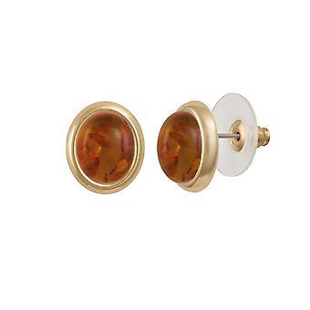 Eternal Collection Minuet Amber Gold Tone Stud Pierced Earrings