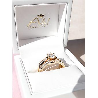 Ah! Jewellery Ladies 18kt Gold Filled Simulated Diamonds Ring & Channel Eternity Band
