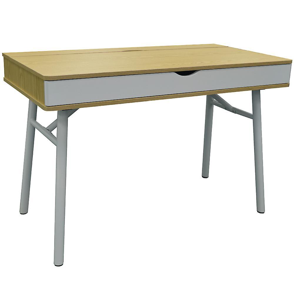 Tech - Modern Retro Hideaway Office Desk   Computer Workstation - Oak   blanc