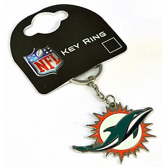 Miami Dolphins NFL metal / enamel keyring. Official licensed product (bb)