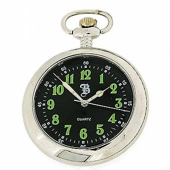 Boxx Mens analoga Silver Tone Black Dial Pocket Watch 12