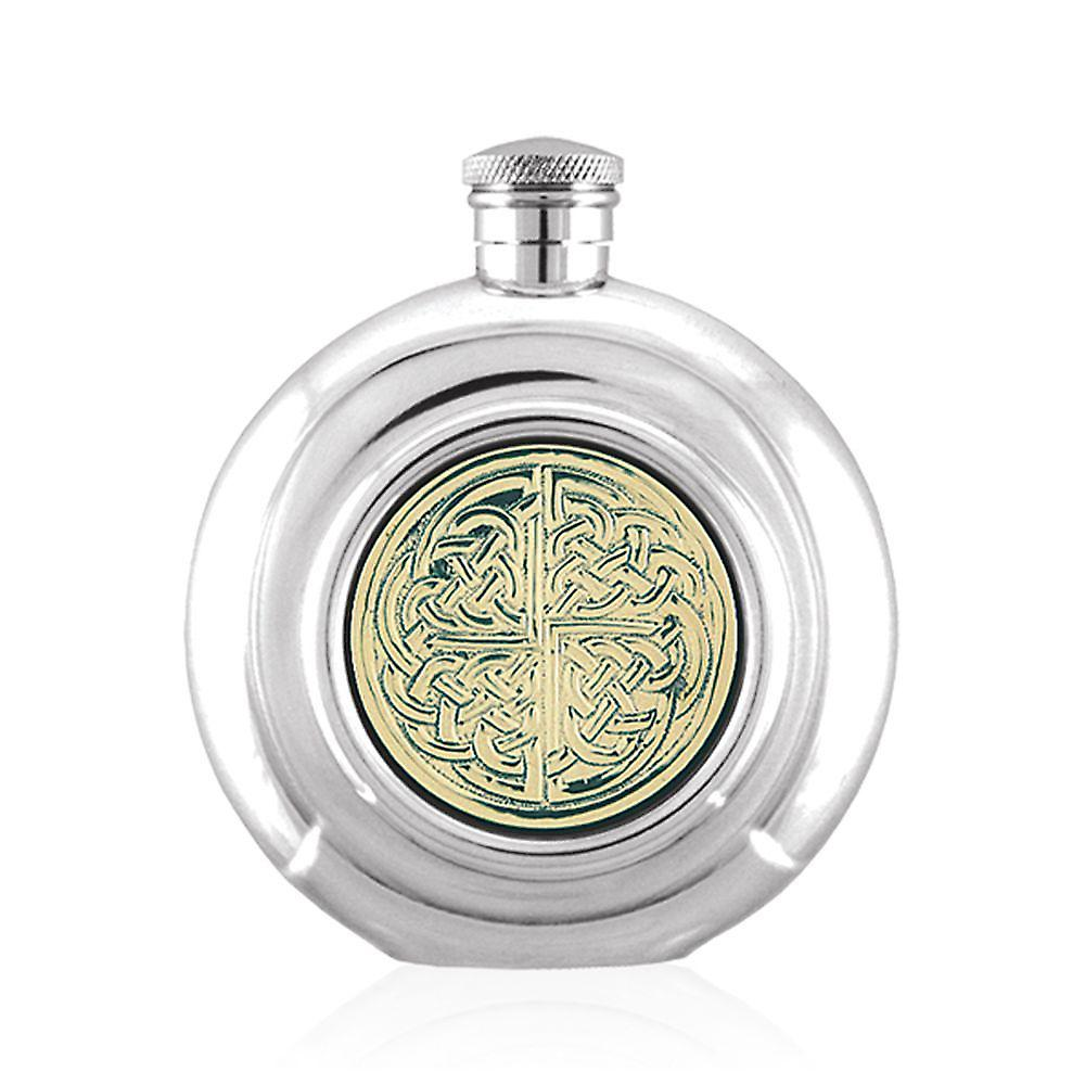 6oz Round Flask Brass Celtic Disc Pewter - Cel440
