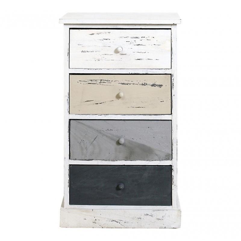 Mobili Cassettiera Chic Bagno Bianco Beige 4 Shabby Cassetti Natural Comodino Rebecca KlcTJF1