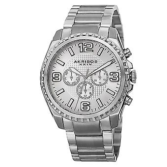 Akribos XXIV Men's Swiss Quartz Multifunction Dual Time Stainless Steel Silver-Tone Bracelet Watch AK774SS