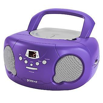 Groov-e Boombox Portable CD Player mit Radio/Aux In/Headphone Purple GVPS733PE