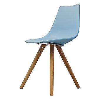 Chaise de salle à manger en plastique bleu iconique de fusion vivante avec des jambes en bois clair
