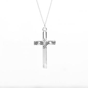 Eternity Sterling Silver Diamond Cut Cross Pendant And Chain