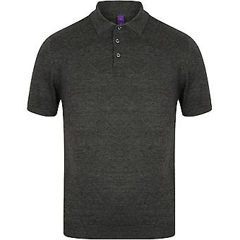 Henbury - Mens Knitted Short Sleeve Polo