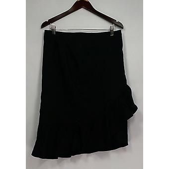 Isaac Mizrahi Live! Skirt Ruffle Flounce Cotton Blend Black A303184