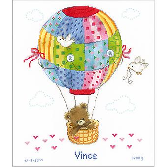 Hot Air Balloon Birth Record On Aida Counted Cross Stitch Ki-10