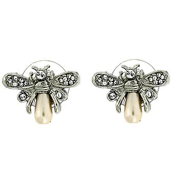 Clip On Earrings Store Swarovski Crystal and Silver Plated Small Bee Clip On Ear