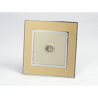 I LumoS AS Luxury Gold Mirror Glass Single TV Socket