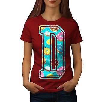 Letter D Donut Fashion Women Red T-shirt | Wellcoda