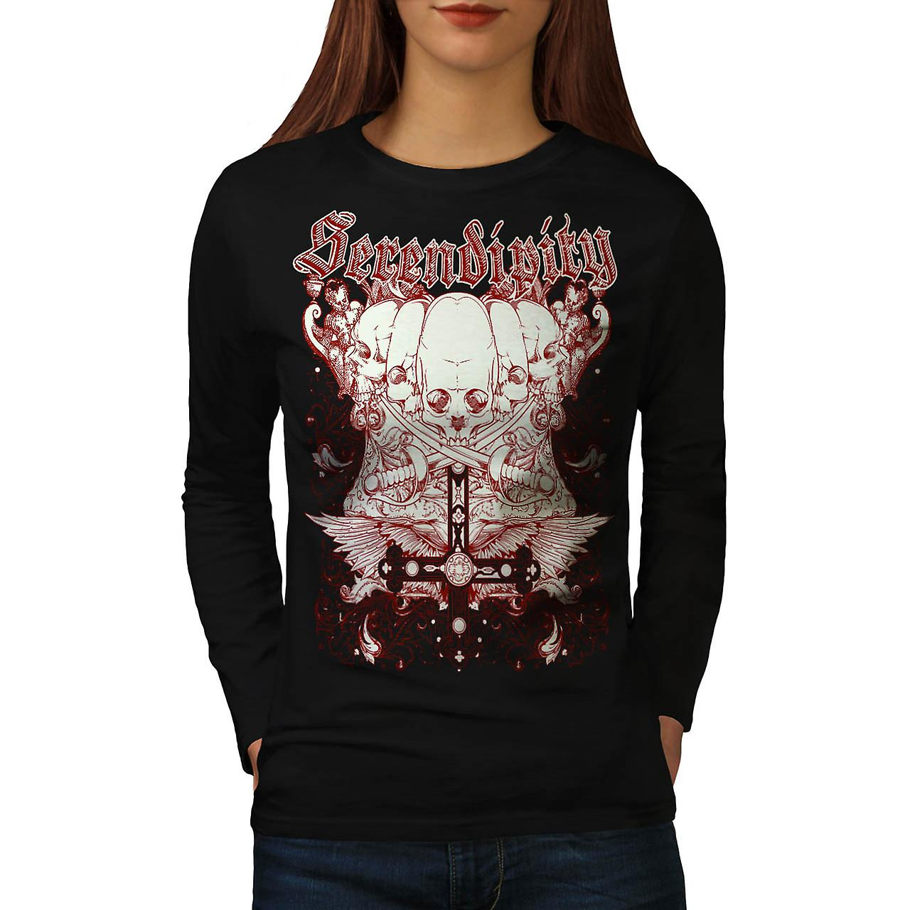 Serendipity Tombstone Grave Yard Women Black Long Sleeve T-shirt | Wellcoda
