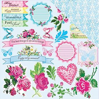 ScrapBerry's Floral Embroidery Double-Sided Cardstock 12