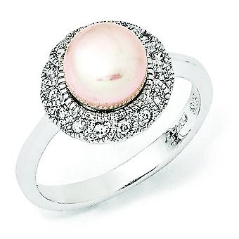 Sterling Silver CZ Pink Freshwater Cultured Pearl Ring - Ring Size: 6 to 8