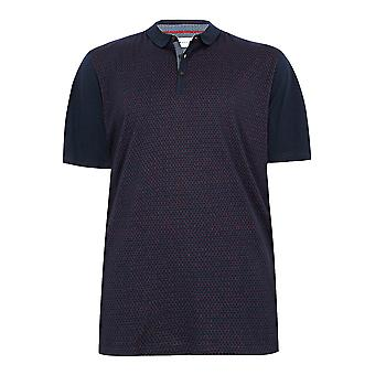 BadRhino Navy Short Sleeve Polo Top With Red Dot Print - TALL